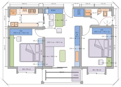 无限策划-户型设计-经典两房中户-星铃丹