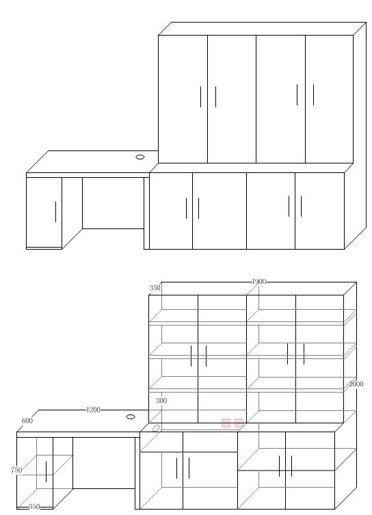 无限策划-家具设计-书柜连书桌