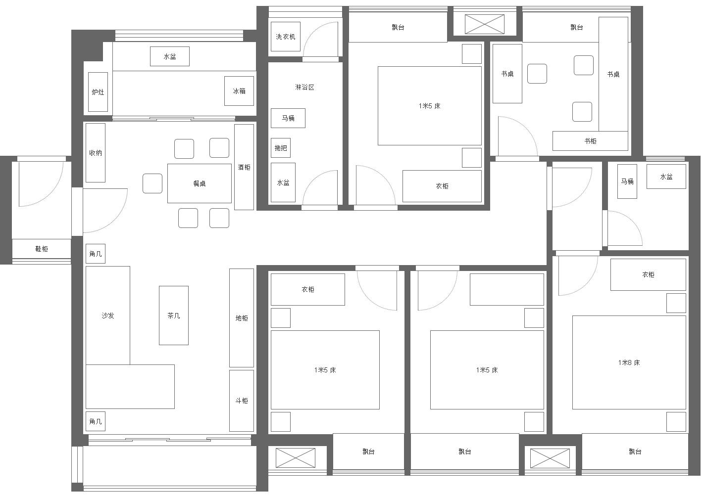 完美户型:套内110方的5房-无限策划