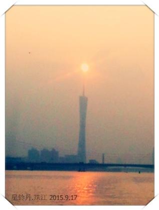 珠江上广州塔落日